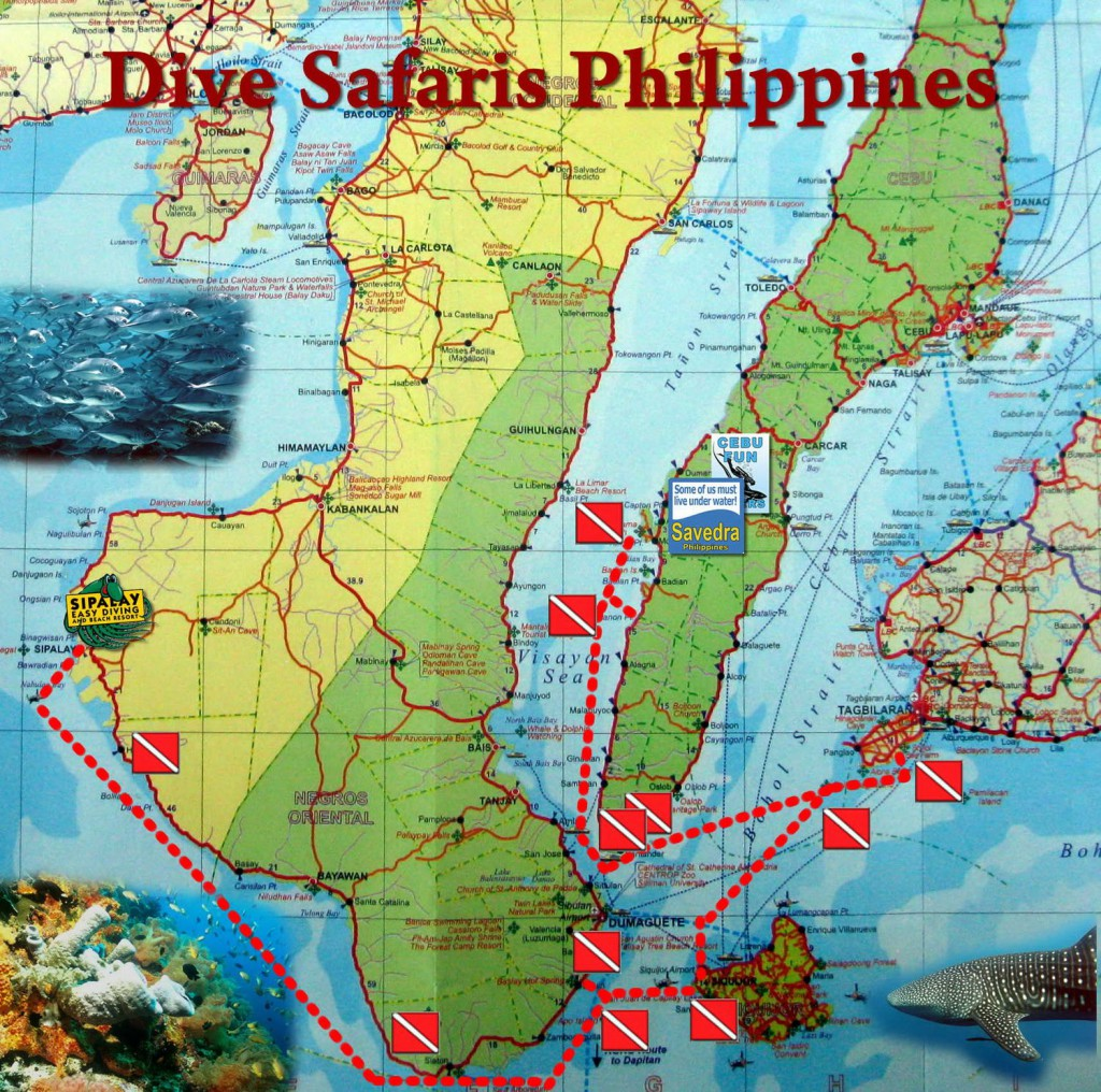 Map of the dive safari in the Philippines
