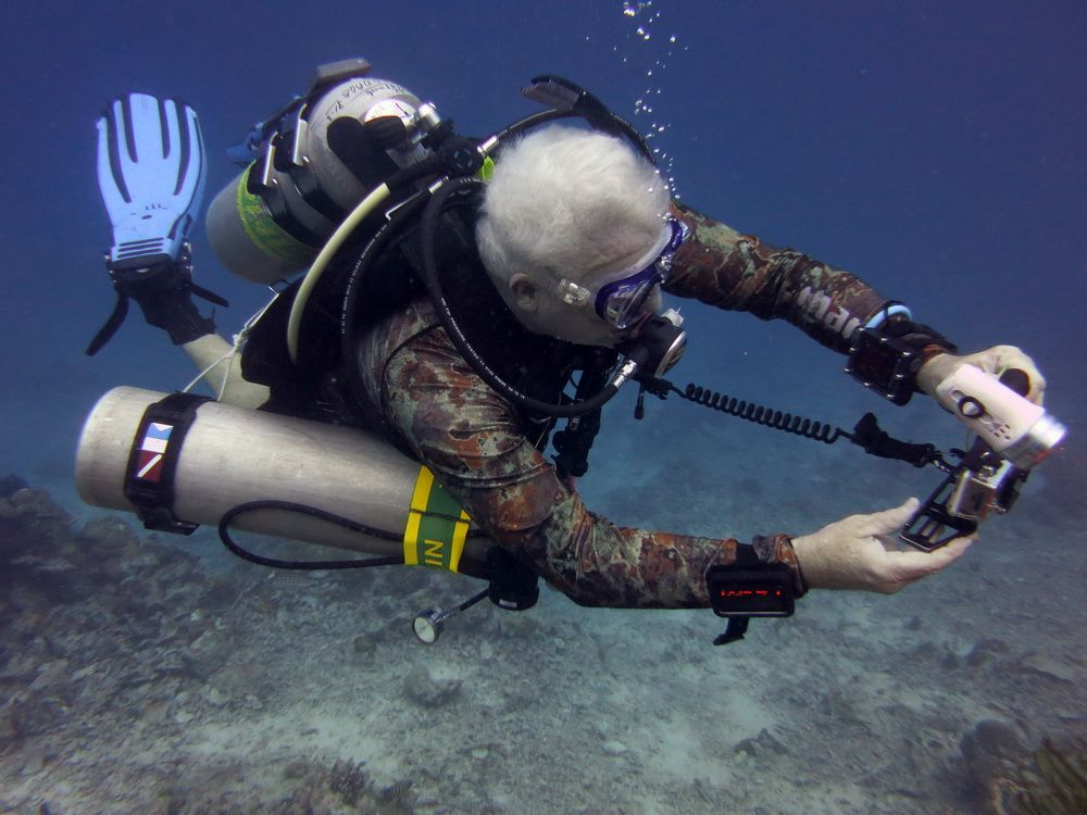 Dr. Dave Smith diving on a reed in the Philippines