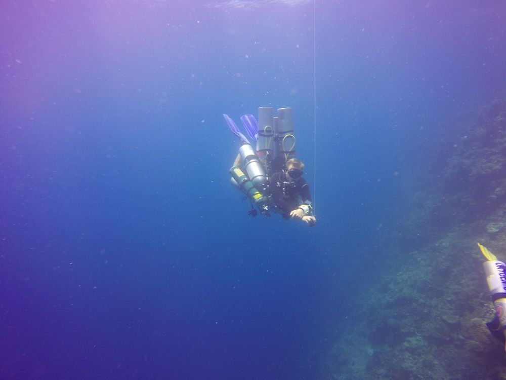 Technical Diver on a safety stop after a deep dive in Moalboal, Cebu, Philippines