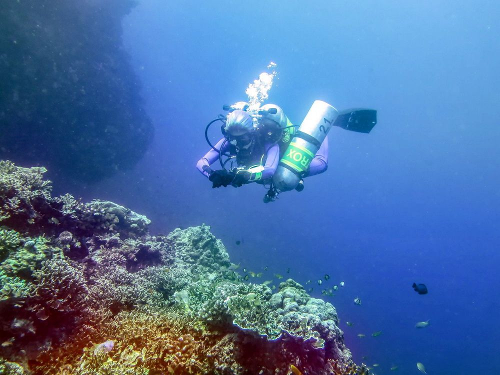 Technical Diver on a coral reef in Moalboal, Cebu