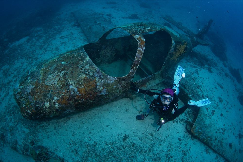 Airplane wreck in Moalboal, Cebu, Philippines