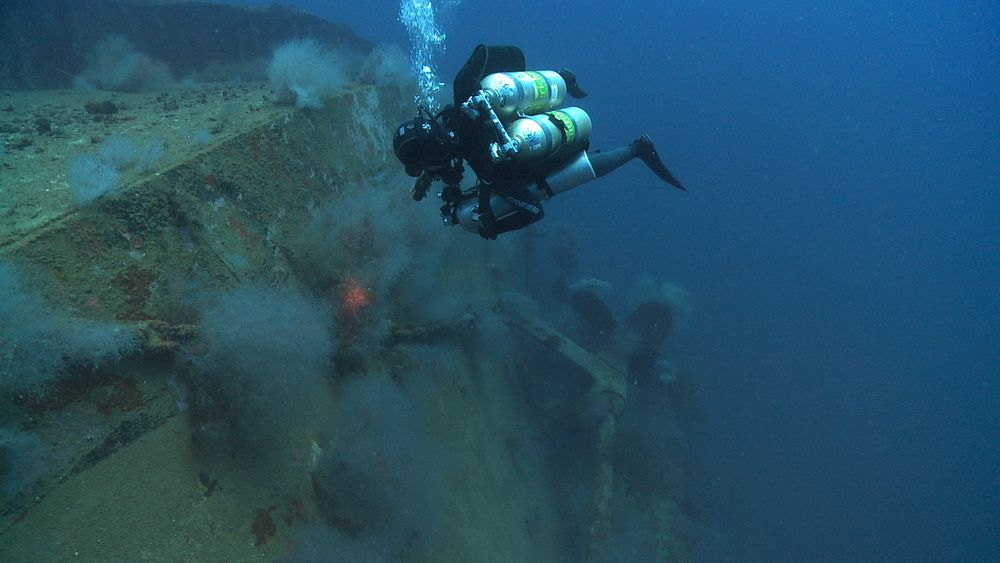 Tec Diver exploring a wreck in Cebu