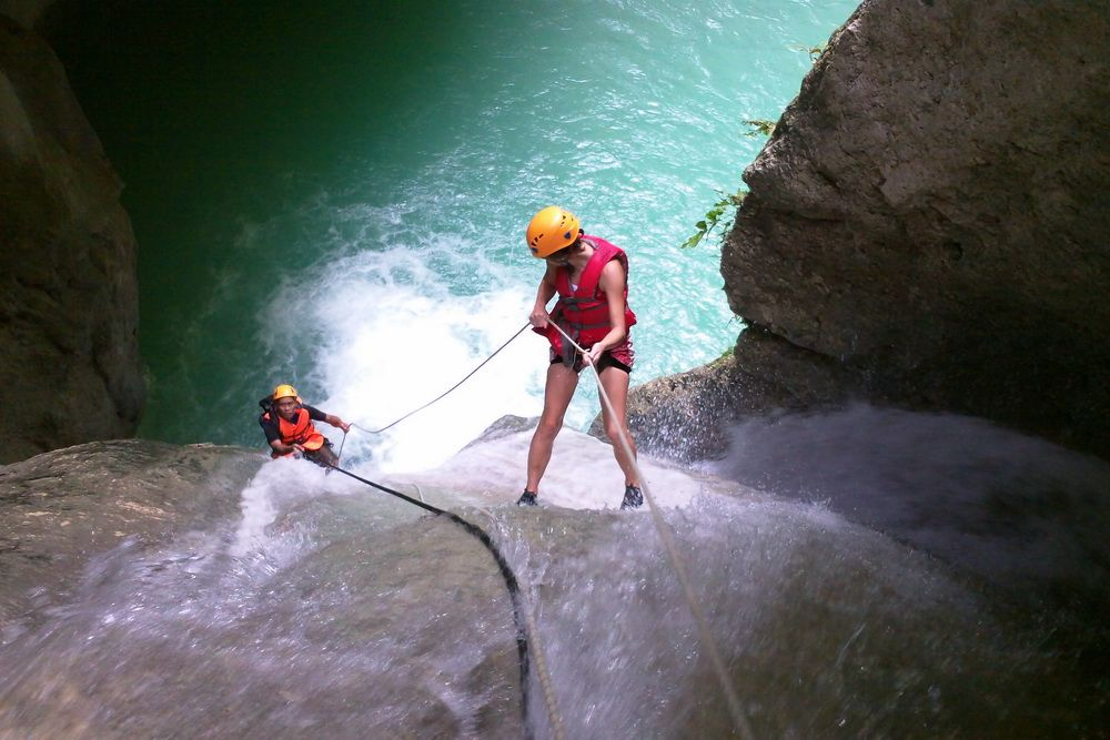 Canyoning - Rappelling a waterfall in Cebu